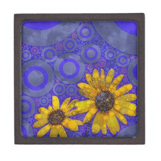 青い黄色の抽象芸術の花 ギフトボックス