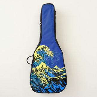 青い黄色の破裂音のスタイルのHokusaiの素晴らしい波 ギターケース