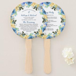 青い黄色バラの庭園の結婚式プログラム手ファン ハンドファン