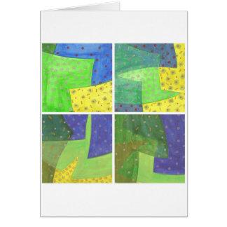 青い黄色緑のクォード カード