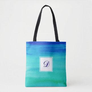 青い2ある調子を与えられた水彩画のモノグラム トートバッグ