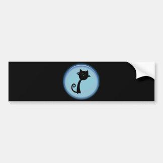 青い3Dデザインのかわいい黒猫 バンパーステッカー