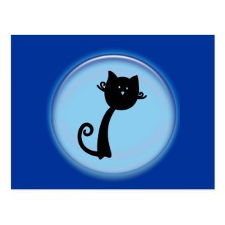 青い3Dデザインのかわいい黒猫 ポストカード