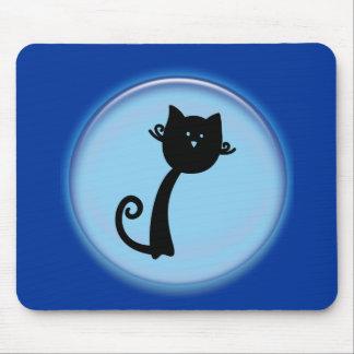 青い3Dデザインのかわいい黒猫 マウスパッド