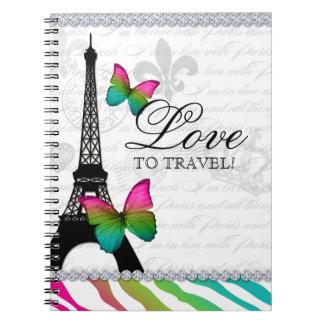 青い747のパリ旅行ジャーナルエッフェル塔の唇 ノートブック