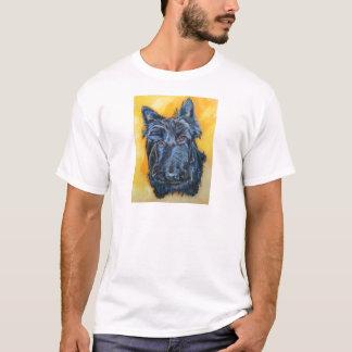 「青い」スコッチテリアの芸術のエミリー Tシャツ