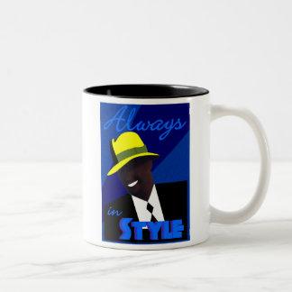 """青い""""ソフト帽""""のコーヒー・マグ ツートーンマグカップ"""