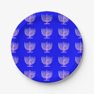 青い(ユダヤ教)メノラーのハヌカーベンFave ペーパープレート