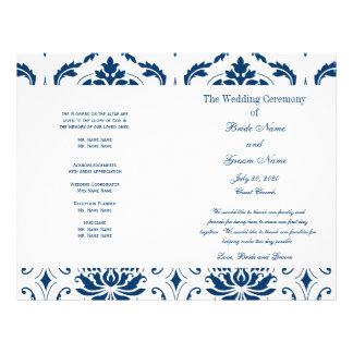 青い|ヴィンテージ|ダマスク織|結婚|プログラム パーソナライズチラシ広告