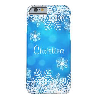 青い《写真》ぼけ味のクリスマスの雪片のiPhone6ケース Barely There iPhone 6 ケース
