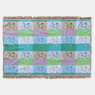 、青い、数々のバイク-紫色ブラウン緑 スローブランケット