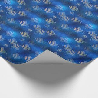 青い《昆虫》マルハナバチの蜂の包装紙 ラッピングペーパー
