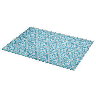 青い+白く幾何学的なパタングラスのまな板 カッティングボード