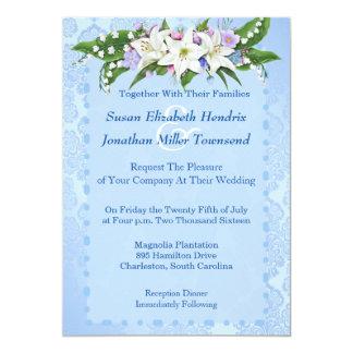 青い|花|結婚|招待状 12.7 X 17.8 インビテーションカード