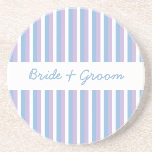 青い|薄紫|白い|ストライプ|結婚|コースター ドリンクコースター