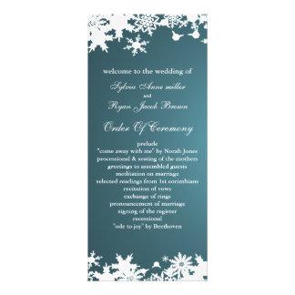 青い|雪片|冬|結婚|プログラム ラックカード