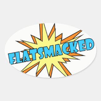 青い#FLATSMACKEDの楕円形のステッカー 楕円形シール