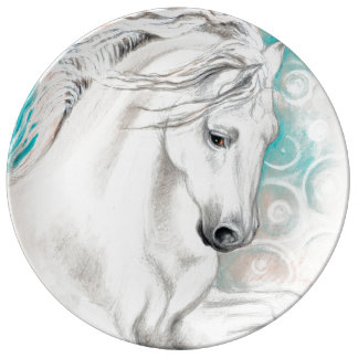 青いAndalusian馬 磁器プレート