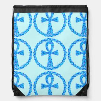青いAnkhパターン古代エジプトのドローストリングバッグ ナップサック