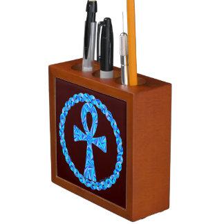 青いAnkh古代エジプトWiccaの芸術のペンの容器 ペンスタンド