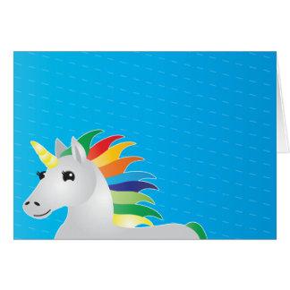 青いbackgrouplainの虹のユニコーンのパーティーの招待 カード