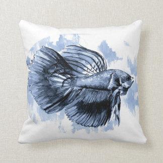 青いBettaの魚の装飾用クッション クッション