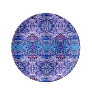 青いBohoのアジサイの曼荼羅の抽象芸術 磁器プレート