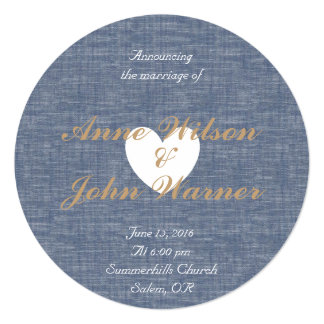 青いchambrayの円形の写真の招待 カード
