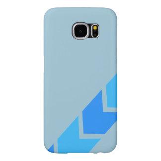 青いCheveronの銀河系6sの箱 Samsung Galaxy S6 ケース