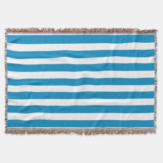 青いDeckchairは縞で飾ります スローブランケット