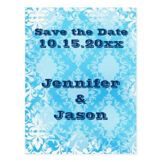 青いDistresedのダマスク織の結婚式招待状 ポストカード