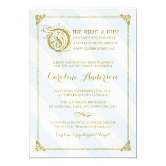 青いGlitterおとぎ話の王子のベビーシャワーの招待 カード