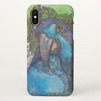 青いHyacinthのコンゴウインコのiPhone Xの箱 iPhone X ケース