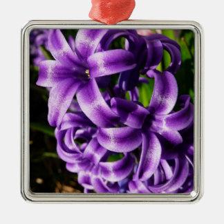 青いHyacinth IIの春の花柄 メタルオーナメント