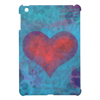 青いipadのデザインの赤いハート iPad miniケース