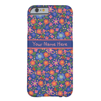 青いiPhone6ケースの民芸のスタイルの花柄 Barely There iPhone 6 ケース