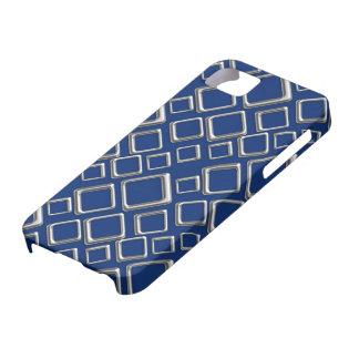青いiPhone 5カバーの銀製の正方形 iPhone SE/5/5s ケース
