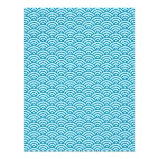 青いJapaneeseの波パターンスクラップブックの技術の紙 レターヘッド