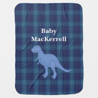 青いMacKerrellのタータンチェック格子縞のベビーブランケット ベビー ブランケット