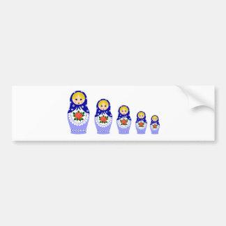青いMatryoschkaの人形 バンパーステッカー
