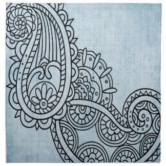 青いMehndiのモチーフの布のナプキン ナプキンクロス