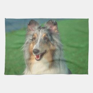 青いMerleの荒いコリー犬の台所タオル キッチンタオル