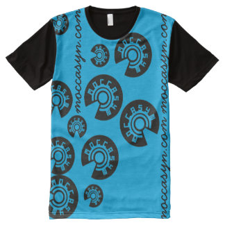 青いMoccasynはプリントをくまなくティーを飛ばします オールオーバープリントT シャツ