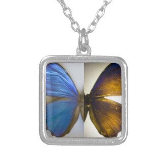 青いMorphoの蝶ネックレス シルバープレートネックレス