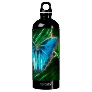 青いMorphoの蝶フラクタル ウォーターボトル