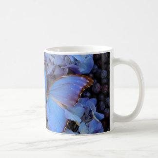 青いMorpho Buterfly コーヒーマグカップ