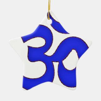 青いomの、信念sanskrit、オウムヨガ、タントラ教 セラミックオーナメント