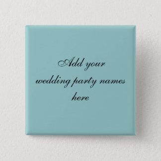 青いPersnalizedの結婚披露宴の名前ピン 5.1cm 正方形バッジ