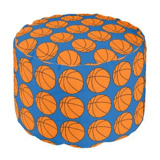 青いPoufのオレンジバスケットボール ラウンドクッション