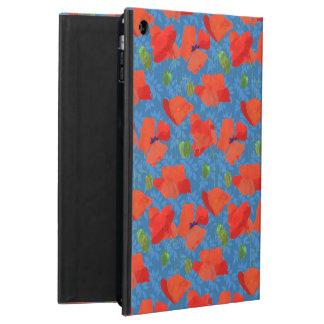 青いPowisのiPadの箱のシックな深紅分野ケシ iPad Airケース